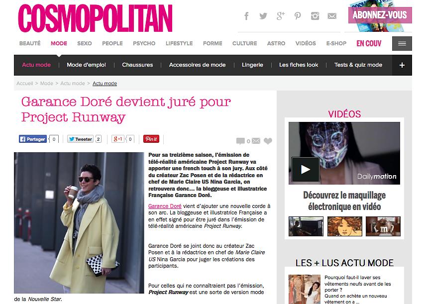 COSMOPOLITAN (web) 18th/08/2015 : picture of Garance Dore