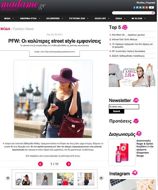 MADAME FIGARO Greece (web) 26th/09/2014