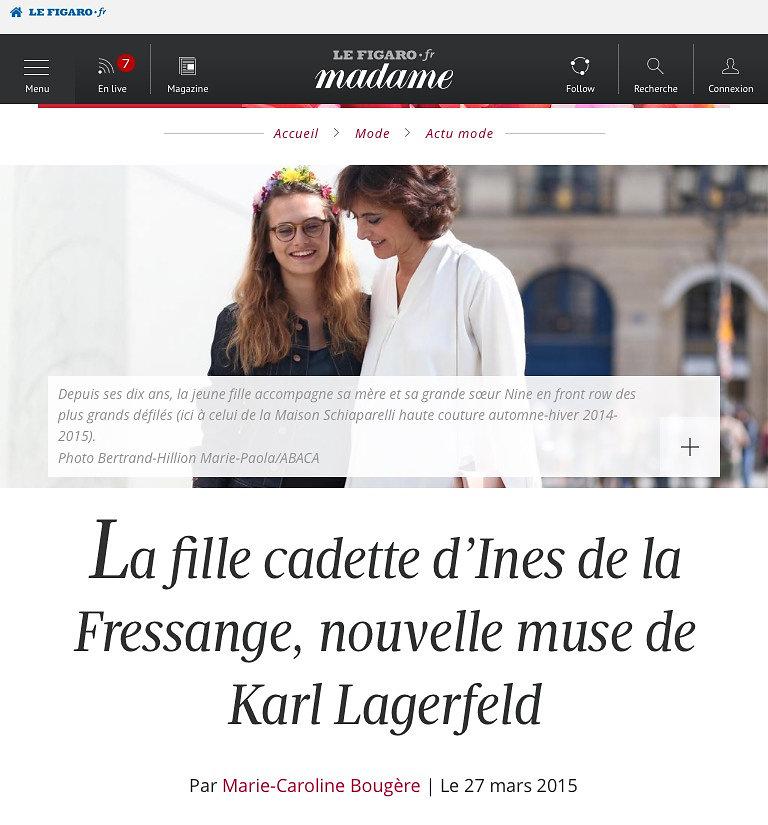MADAME FIGARO (web) 27th/03/2015: pic of Violette d'Urso and Ines de la Fressange
