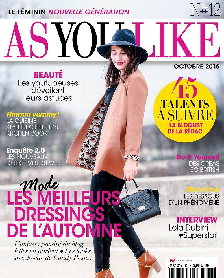 AS YOU LIKE (Print) - Cover page - #12 Octobre 2016