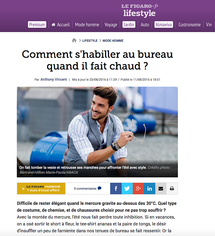 LE FIGARO LIFESTYLE (Web) 23rd/08/2016