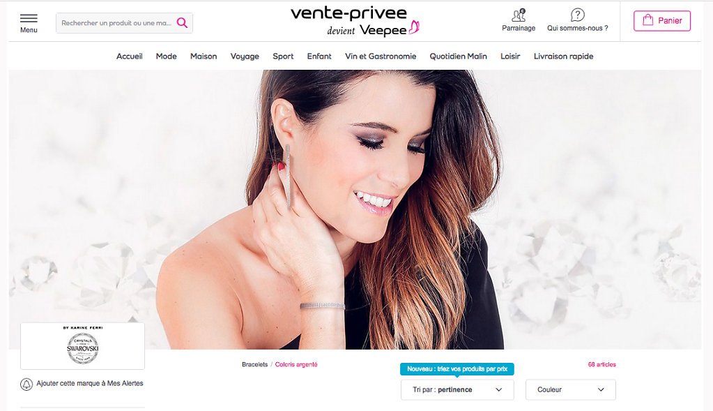 Karine Ferri for Swaroski on Vente-Privee.com (web) - January 2019